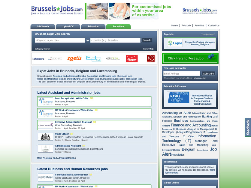 Screenshot Jobbörse brusselsjobs.com