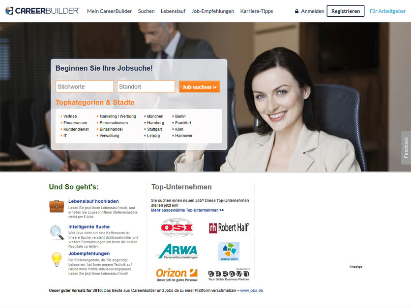Screenshot Jobbörse careerbuilder.de