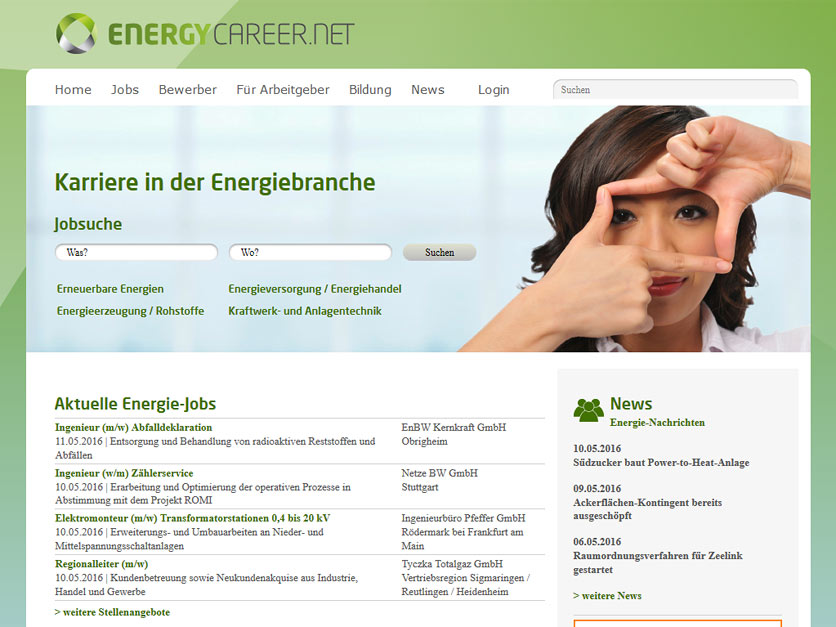 Screenshot Jobbörse energycareer.net