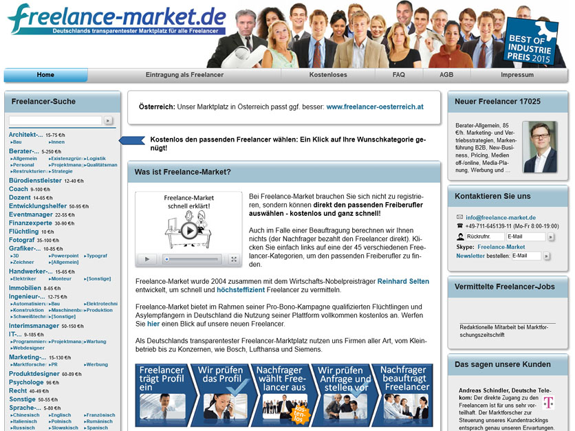 Screenshot Jobbörse freelance-market.de