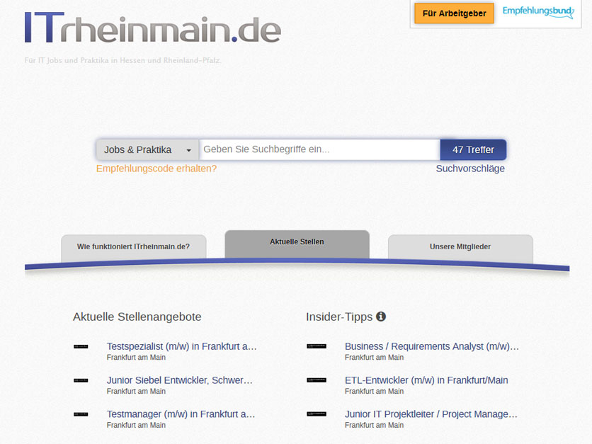 Screenshot Jobbörse itrheinmain.de