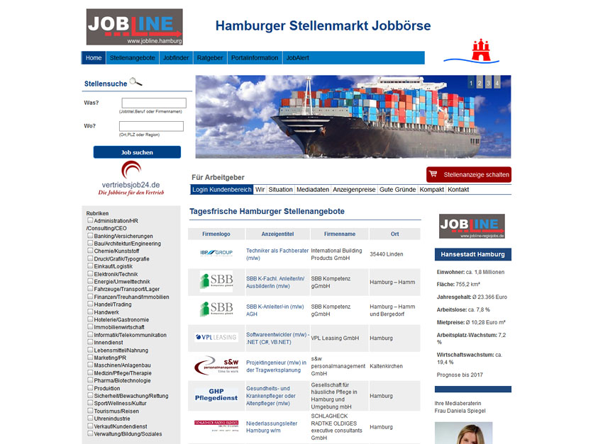 Screenshot Jobbörse jobline.hamburg
