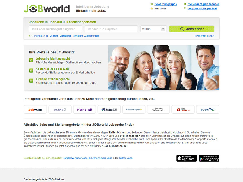 Screenshot Jobbörse jobworld.de