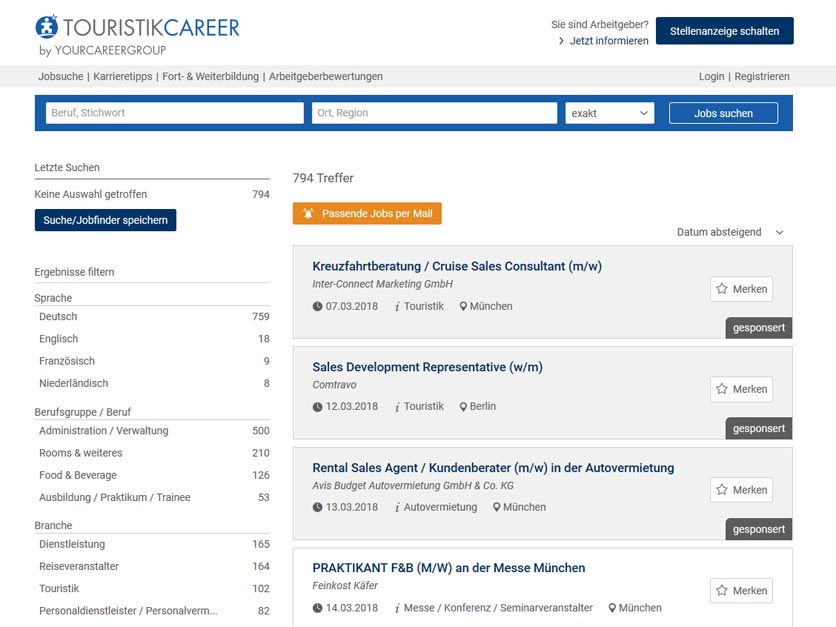 Screenshot Jobbörse touristikcareer.de