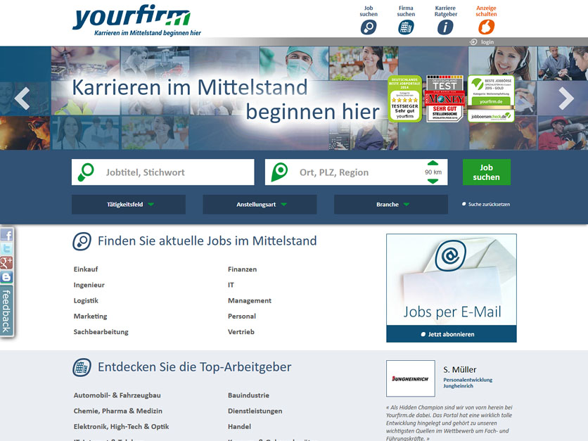 Screenshot Jobbörse yourfirm.de